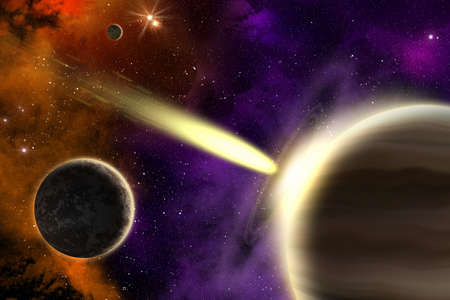collision: Planets in deep space with a flying comet  Apocalypse