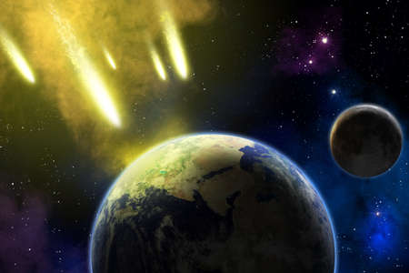 end of world: Earth and moon in space with a flying asteroids  Asteroid impact  Apocalypse  elements furnished by NASA   Stock Photo
