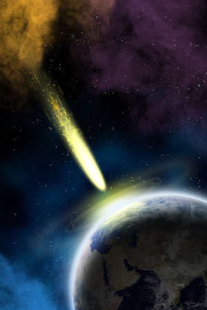 Earth in space with a flying asteroid  Asteroid impact Stock Photo - 15689223
