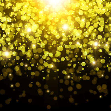 Golden abstract background with bokeh effect  photo