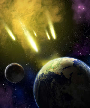 Earth and moon in space with a flying asteroids  Asteroid impact  Ñatastrophe  elements furnished by NASA Stock Photo - 16211801