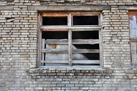 Front of abandoned building  Wall with window Stock Photo - 16211804