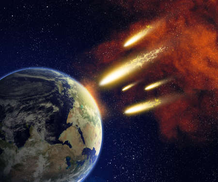 Earth and flying asteroids in space  Asteroid impact  catastrophe  elements furnished by NASA