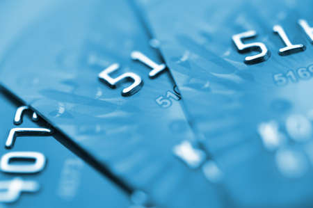 Debit cards in blue tone  Macro shot  Selective focus