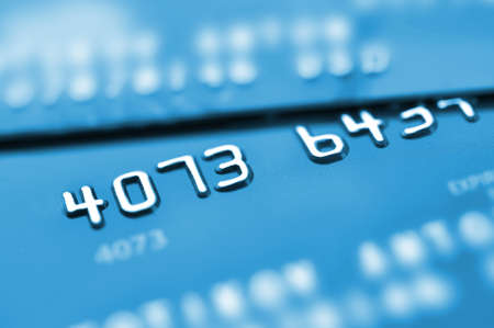 Credit cards in blue tone with shallow depth of field  Stock Photo