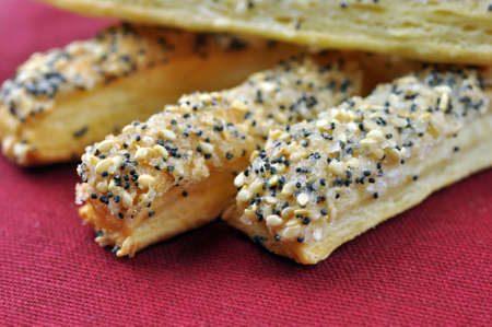 Sugar cookies with sesame and poppy-seeds. Closeup with extremely shallow dof.