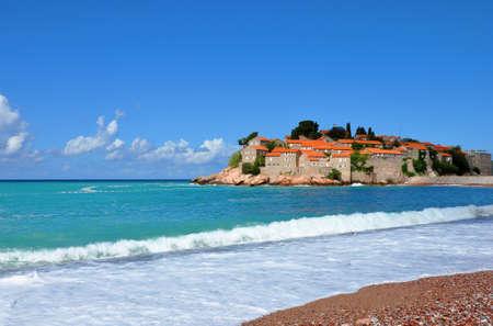 isthmus: Beach near the Sveti Stefan island, Montenegro.