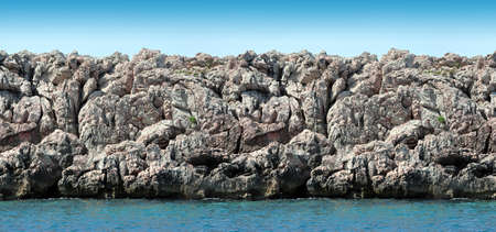 Seamless sea landscape panorama, rocks and sea. Stock Photo