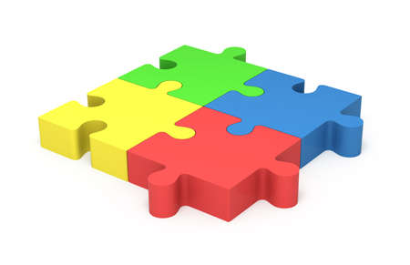 3D colorful puzzle pieces isolated on white background. Concept unity and equality.