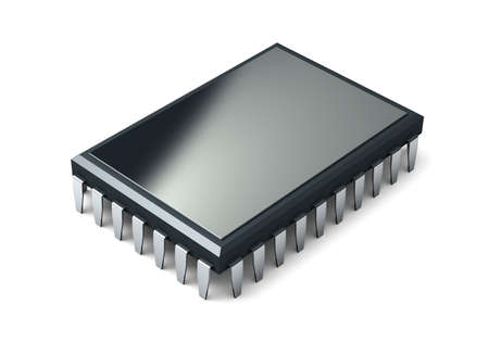 Microchip isolated on white background. 3d render.