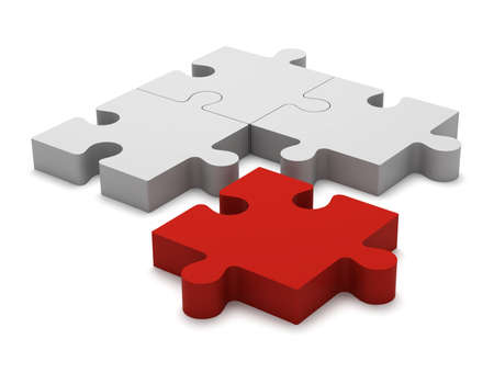 outcast: 3D color white and red puzzle pieces isolated on white background. Concept renegade, turncoat, outcast.
