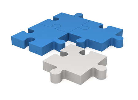 3D color blue and white puzzle pieces isolated on white background. Concept innovations.