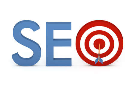 hit tech: Word SEO with target and arrow, isolated on white background.