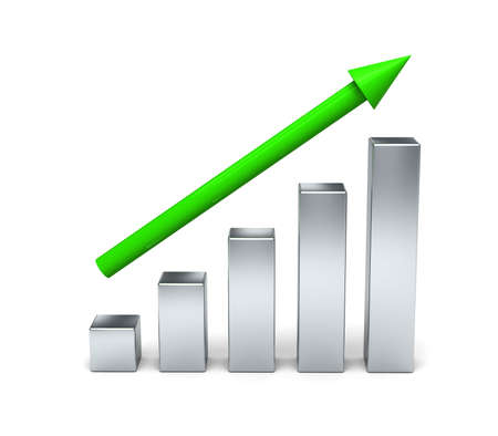 3D Bar Chart. Concept growth. Isolated on a white background.