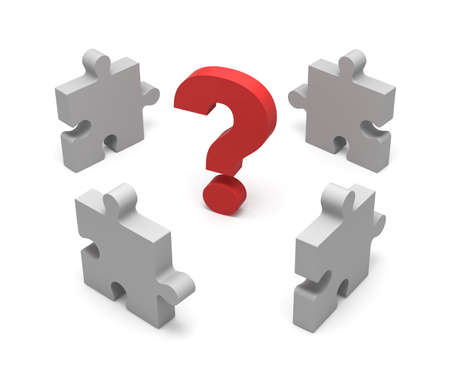 argumentation: 3D puzzle and question mark isolated on white background. Concept solution. Stock Photo