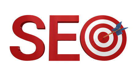 Word SEO with target and arrow, isolated on white background.