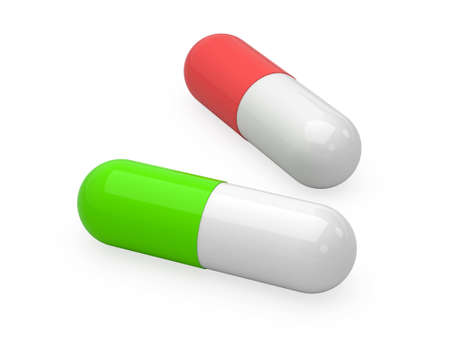 Two medical pills isolated on a white background. 3d illustration.