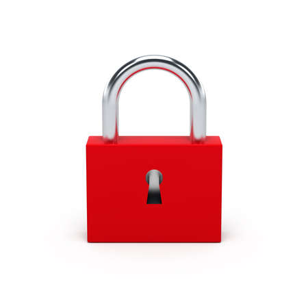 Red lock isolated on white background. 3D illustration. Stock Photo