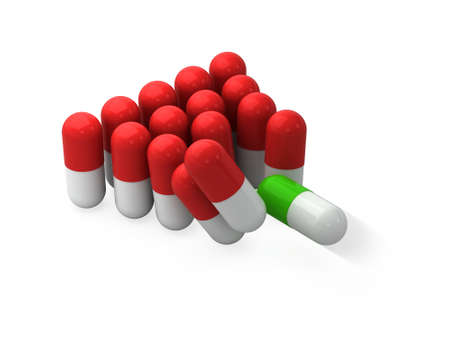 Many reds and one green pills like a billiard balls. Concept correct medicine and treatment. 3d illustration.