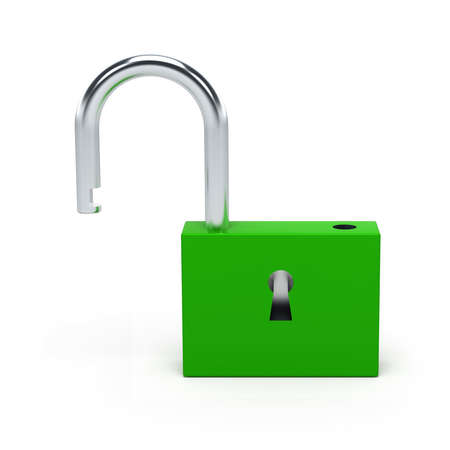 Unlocked green lock isolated on white background. 3D illustration.