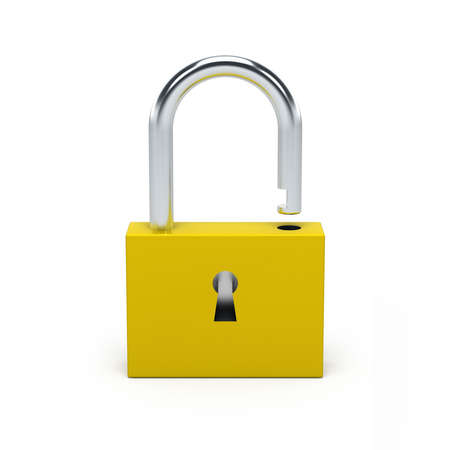 Unlocked yellow lock isolated on white background. 3D illustration.