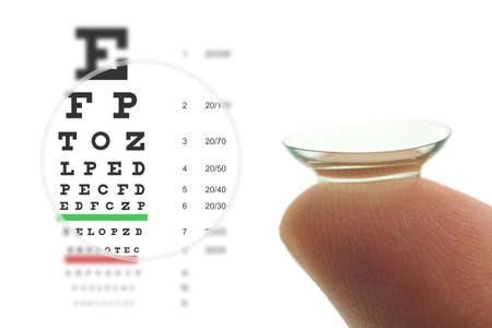 Contact lens on finger and snellen eye chart. Concept sharp vision.