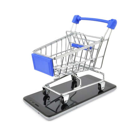 Shopping cart and mobile shopping. Concept online shopping.