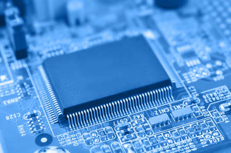Closeup of chip. Electronic circuit board with chip. Macro with extremely shallow dof. Stock fotó