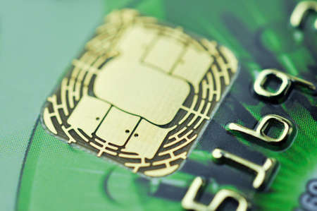 Credit cards and chip with shallow depth of field. Selective focus. Macro shot.