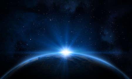 Aarde, melkweg, nevel en zon. Stockfoto
