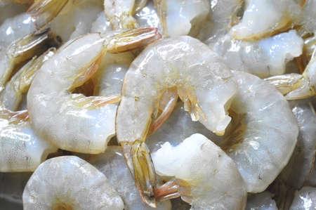 Raw shrimps. Abstract food background. Closeup shot. Standard-Bild