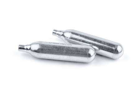 Two Aluminum CO2 Balloon for Air Gun Isolated on White Background. The Co2 Cartridges.