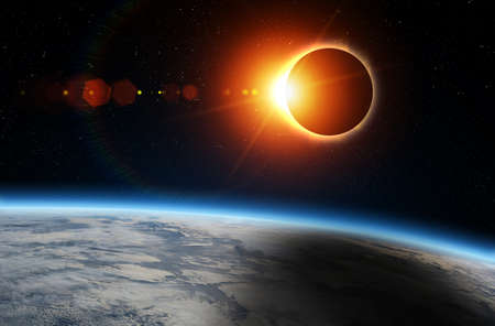Solar Eclipse and Earth. Solar eclipse, mysterious natural phenomenon when Moon passes between planet Earth and Sun.