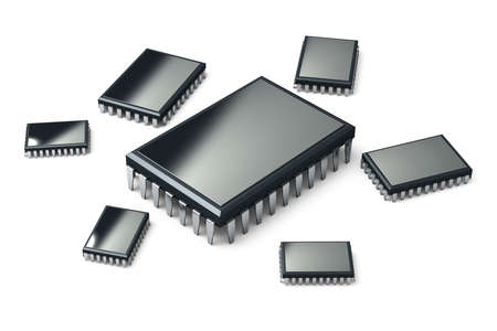 Different microchips isolated on white background. High resolution 3d render. Family of microchips 免版税图像