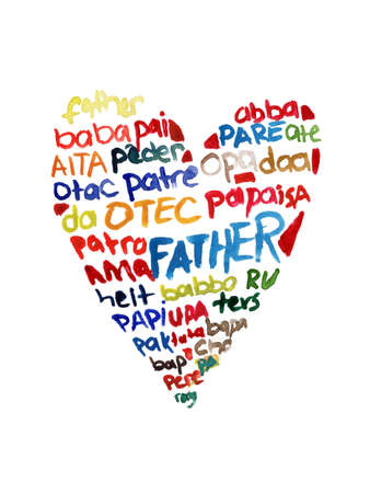 Happy fathers day elements set watercolor illustrated Stock Photo