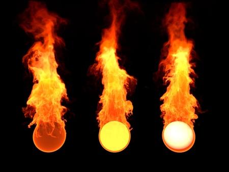 Pelota en el fuego, esfera de fuego, 3d