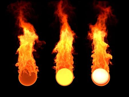 Ball in fire, sphere in fire, 3d render