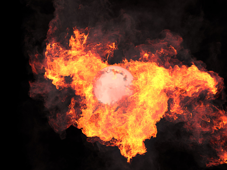hidef: Ball in fire. Sphere in fire. Fire. On fire. 3d render