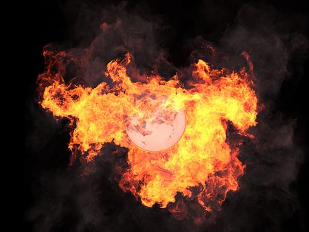 protuberance: Ball in fire. Sphere in fire. Fire. On fire. 3d render