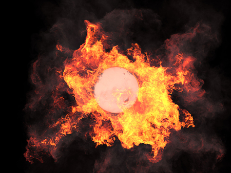 Ball in fire. Sphere in fire. Fire. On fire. 3d render