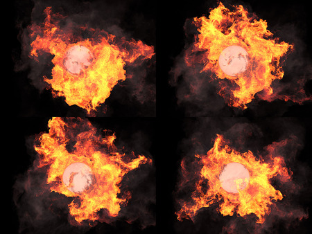 ardor: four version. Ball in fire. Sphere in fire. Fire. On fire Stock Photo