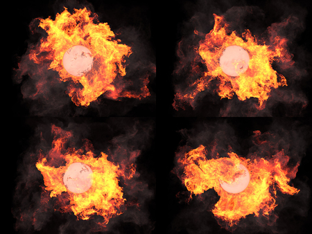 dramatically: four version. Ball in fire. Sphere in fire. Fire. On fire Stock Photo