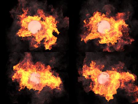 llamas de fuego: four version. Ball in fire. Sphere in fire. Fire. On fire Foto de archivo