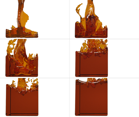fills: set of paint flow fills up a container. Collection of liquid fills up the container Stock Photo