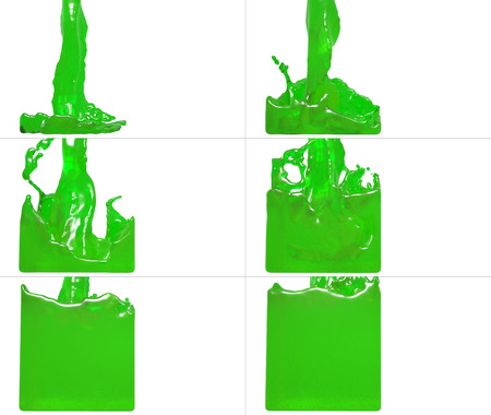 set of paint flow fills up a container. Collection of liquid fills up the container Stock Photo