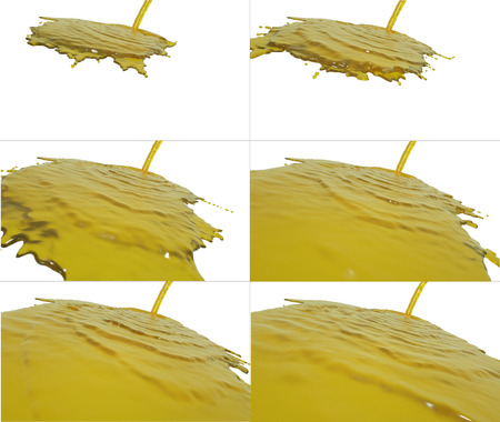 trickle down: set of liquid flow falls on surface. Collection of liquid fills the screen Stock Photo