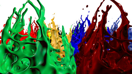 paints dance on white background. Simulation of 3d splashes of ink on a musical speaker that play music. beautiful splashes as a bright background in ultra high quality. shades multi colored v14 Stock Photo