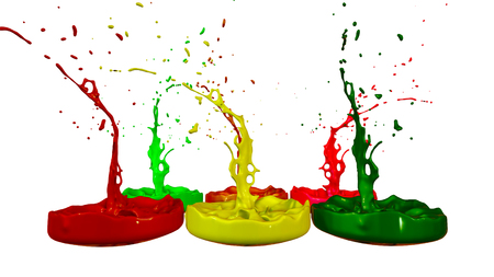 paints dance on white background. Simulation of 3d splashes of ink on a musical speaker that play music. beautiful splashes as a bright background in ultra high quality. shades multi colored v2 Imagens