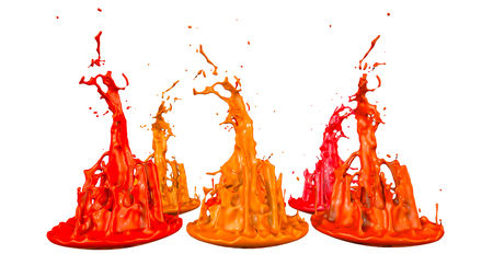 paints dance on white background. Simulation of 3d splashes of ink on a musical speaker that play music. beautiful splashes as a bright background in ultra high quality. shades of red v2 Imagens - 98722126