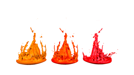 paints dance on white background. Simulation of 3d splashes of ink on a musical speaker that play music. beautiful splashes as a bright background in ultra high quality. shades of red v3